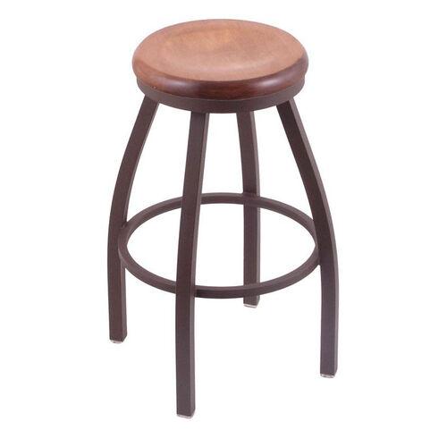 Misha 25'' Bronze Finish Swivel Counter Height Stool with Medium Maple Wood Seat