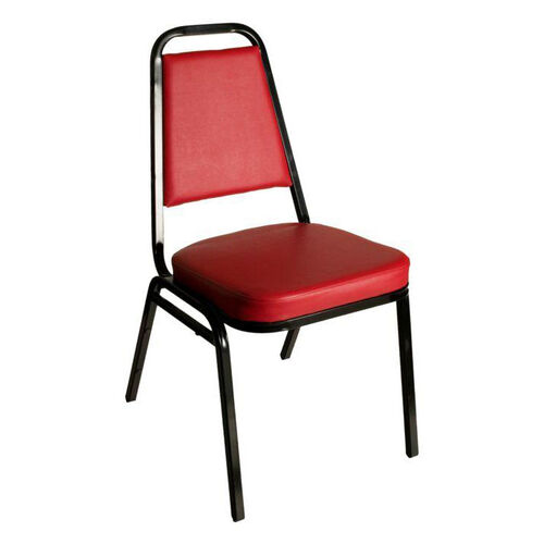 Montour Stacking Chair - Black Frame and 2'' Thick Red Vinyl Seat