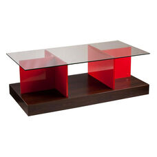 Cormick Mid Century Puzzle Inspired 47.5''W x 23.5''D Cocktail Table - Red-Orange
