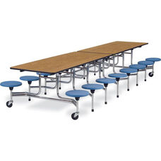 MTS Series Mobile Folding Table with 15''H Stools - Seats 16 - 58''W x 144''D x 27''H