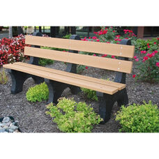 Colonial 6' Recycled Plastic Bench with Black Base