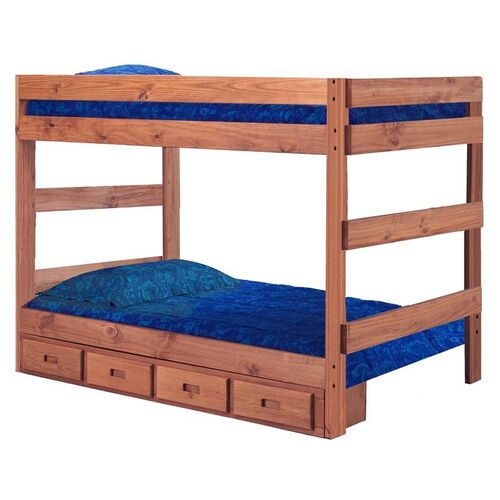 Rustic Style Solid Pine 1 Piece Bunk Bed with Storage - Full - Mahogany Stain
