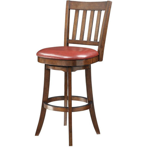Inspired By Bassett Mission 30'' Bar Stool with Eco Leather Seat - Crimson Red