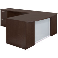 300 Series 72'' W x 36'' D Bow Front L Shaped Desk with 2 and 3 Drawer Pedestals - Mocha Cherry