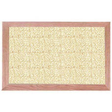Burlap Weave Vinyl Bulletin Board with Red Oak Frame and Clear Lacquer Finish - Fawn - 12''H x 18''W