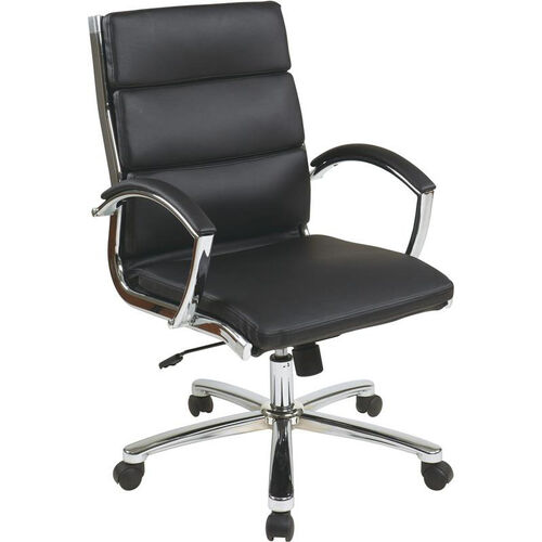 Work Smart Mid Back Executive Faux Leather Chair with Polished Chrome Finish - Black
