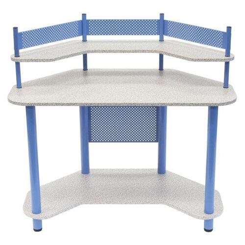 Compact Corner Computer Study Desk - Blue and Splatter Grey