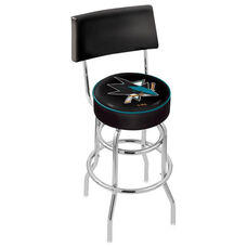 San Jose Sharks 25'' Chrome Finish Swivel Counter Height Stool with Double Ring Base