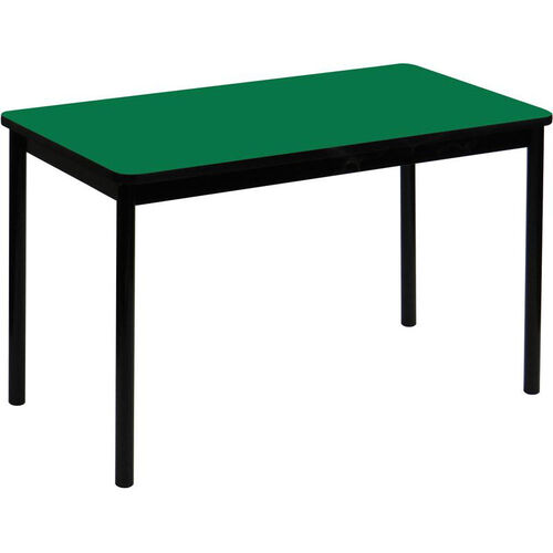 High Pressure Laminate Rectangular Lab Table with Black Base and T-Mold - Green Top - 30''D x 60''W