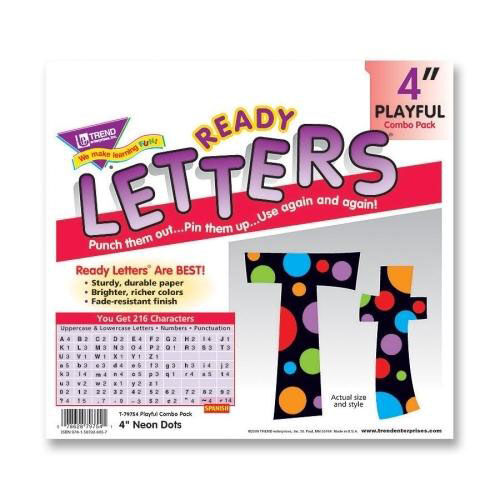Trend Enterprises Ready Letter - with Neon Dots - 4'' - Assorted Letters/Color
