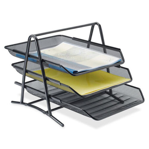 Lorell Front -Load Letter Tray - 3 Tier - 10 -3/4''W x 14 -1/4''L x 11''H - Black Mesh
