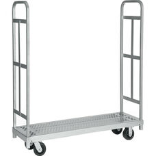 Narrow Tall End Steel Frame Truck with 2 Swivel Casters - 16''W x 54''D