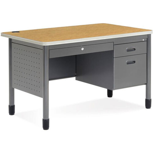 Mesa 29.50'' D x 47.25'' W Single Pedestal Teacher's Desk - Oak Top