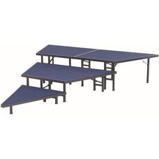 Pie Shaped Riser Sets with Carpeted Top and Built - In Coupling System - 48''W x 16''D