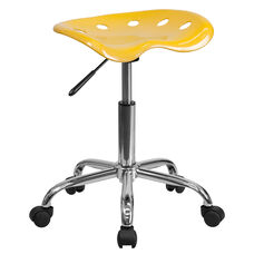 Vibrant Mustard Tractor Seat and Chrome Stool