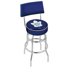 Toronto Maple Leafs 25'' Chrome Finish Swivel Counter Height Stool with Double Ring Base