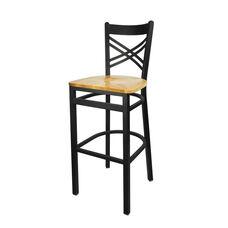 Akrin Metal Cross Back Barstool - Natural Wood Seat