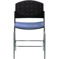 Eddy Chrome Counter Stool with Upholstered Seat Pad