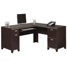 Tuxedo L-Shaped Computer Desk - Mocha Cherry