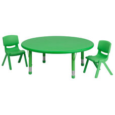 45'' Round Green Plastic Height Adjustable Activity Table Set with 2 Chairs