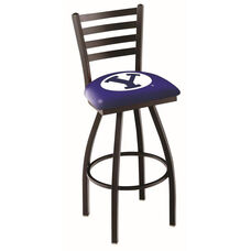 Brigham Young University 25'' Black Wrinkle Finish Swivel Counter Height Stool with Ladder Style Back