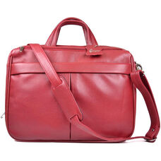 Laptop Briefcase with Shoulder Strap - Boston Leather - Red