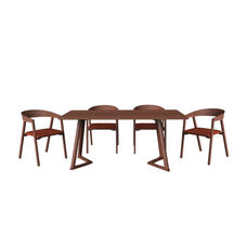 Malmo Ashtree 5 Piece Dining Set with 4 Dining Chairs - Dark Brown