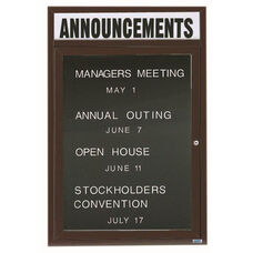 1 Door Outdoor Enclosed Directory Board with Header and Bronze Anodized Aluminum Frame - 36''H x 24''W
