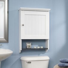Bath Collection 28.75''H Wall Cabinet with Faux Slate Shelf - Soft White