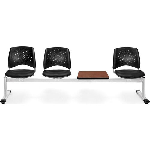 Stars 4-Beam Seating with 3 Black Vinyl Seats and 1 Table - Cherry Finish
