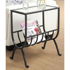Contemporary Metal 23''H Magazine Table with Tempered Glass Top - Stardust Brown
