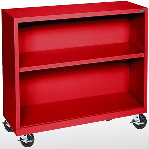 Elite Series 36'' W x 18'' D Two Shelf Mobile Bookcase - Red