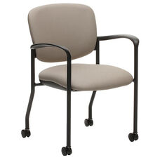 Brylee™ Guest Chair with Casters and Waterfall Seat Front - Black Frame