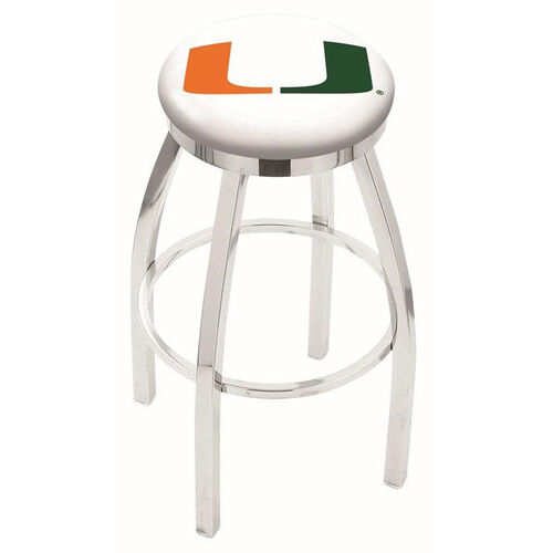 University of Miami 25'' Chrome Finish Swivel Backless Counter Height Stool with Accent Ring