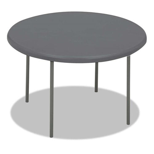 Iceberg IndestrucTables Too 1200 Series Resin Folding Table - 48 dia x 29h - Charcoal