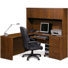 Embassy L-Shaped Workstation Kit with Keyboard Shelf and 1 Filing Drawer - Tuscany Brown