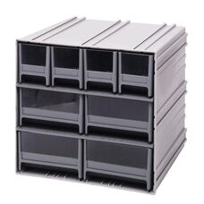 Interlocking Storage Cabinet with 8 Mixed Drawers - Gray