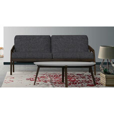 Classic Fabric Upholstered Loveseat with Wood Frame - Dark Blue