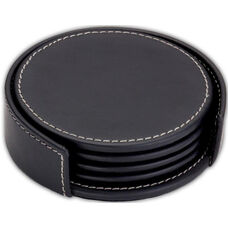 Rustic Leather 4'' Round Coasters with Holder - Black