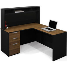 Pro-Concept L-Shaped Workstation with Small Hutch and Drawers - Milk Chocolate Bamboo and Black