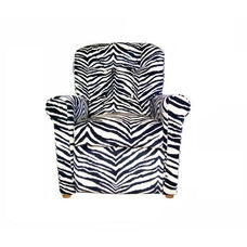 Kids 4 Button Tufted Back Upholstered Recliner - Zebra