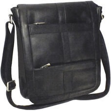 16'' Vertical Laptop Messenger Bag - Colombian Vaquetta Leather - Black