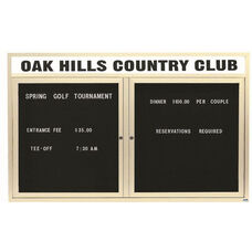 2 Door Outdoor Illuminated Enclosed Directory Board with Header and Ivory Anodized Aluminum Frame - 36''H x 60''W