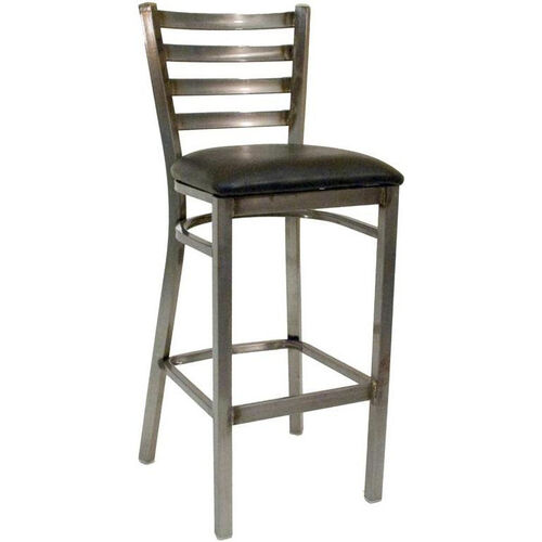 Quick Ship Thick Ladder Back Barstool - Black Vinyl Seat