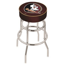 Florida State University 25'' Chrome Finish Double Ring Swivel Backless Counter Height Stool with 4'' Thick Seat