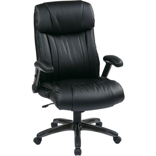 Work Smart Executive High Back Eco Leather Chair with Titanium Coated Base - Black