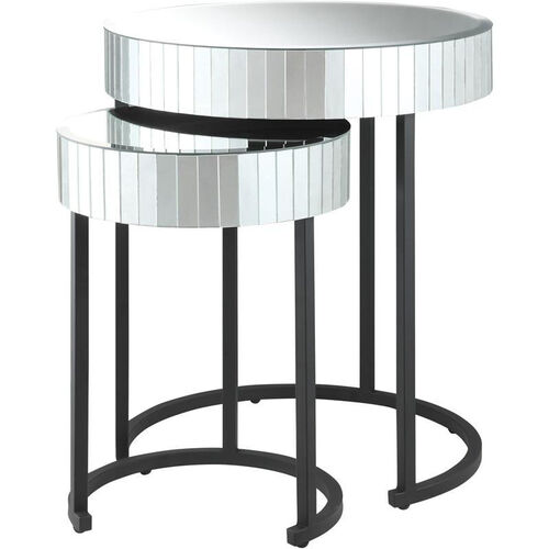 OSP Designs Krystal Steel Frame 2-piece Round Mirror Decorative Nesting Tables
