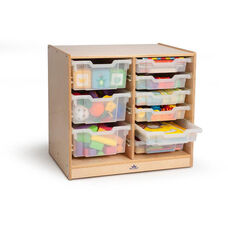 Clear Tray Double Storage Cabinet with Casters