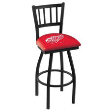Detroit Red Wings 25'' Black Wrinkle Finish Swivel Counter Height Stool with Jailhouse Style Back