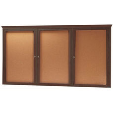 3 Door Enclosed Bulletin Board with Crown Molding and Walnut Finish - 48''H x 96''W